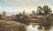 Sheep Grazing before Wrotham Church, Twilight, Alfred Augustus Glendening Snr