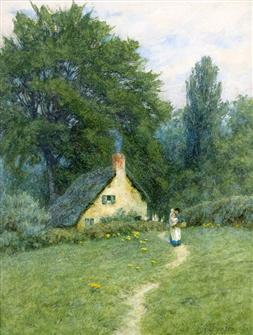 Helen Allingham | A Thatched Cottage near Disley, Cheshire