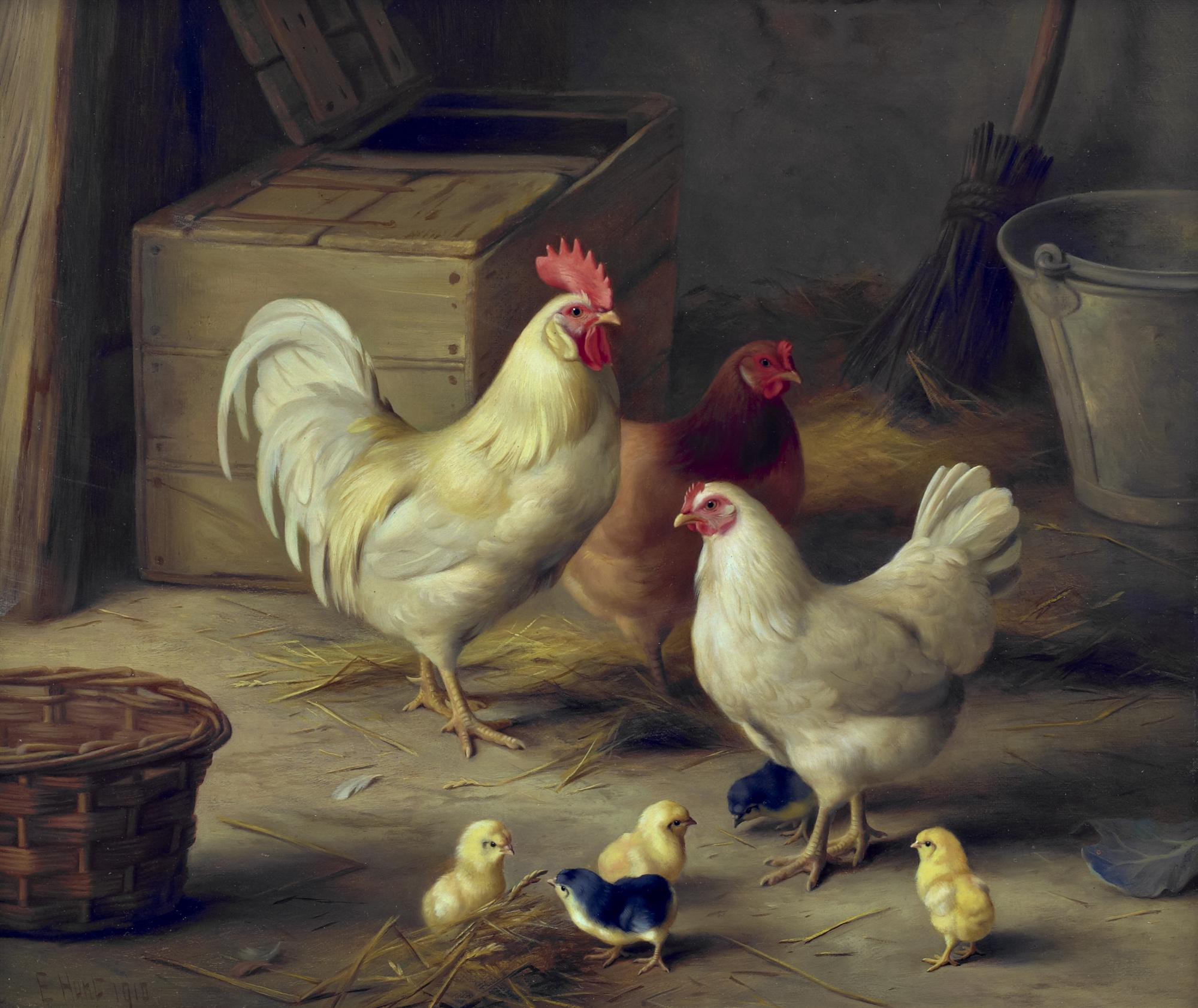 Edgar Hunt | Chickens & Chicks in Barn