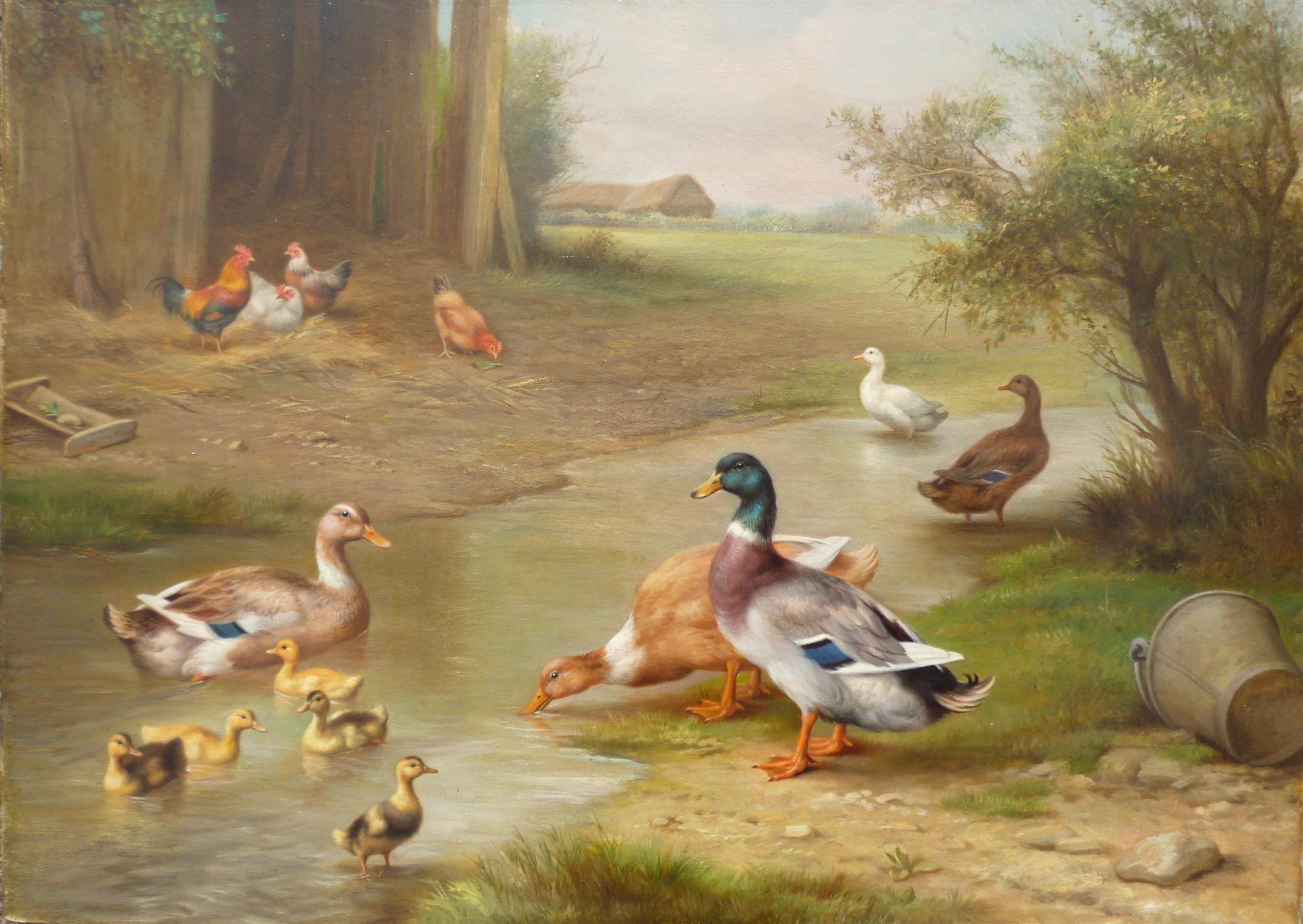 View Edgar Hunt Ducks By Stream Part Of Pair Farmyard