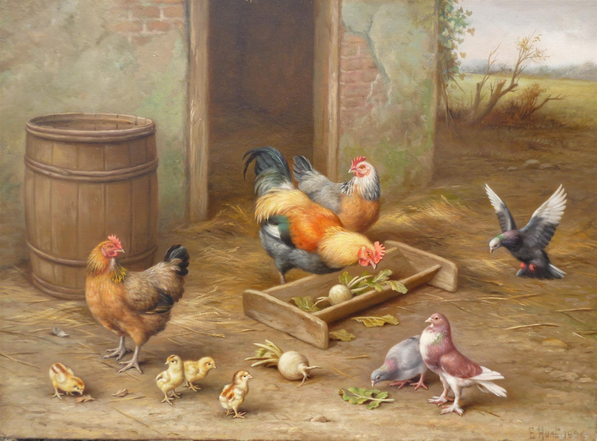 Edgar Hunt | Chickens & Doves (Part of pair Farmyard Scene 2)