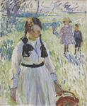 Children in the Field, Marcella holding a Wicker Basket