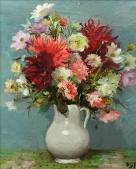 Marcel Dyf | Dahlias Rouges, Pot Blanc