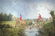 Huntsmen on Horseback and Hounds crossing the Stream, George Wright