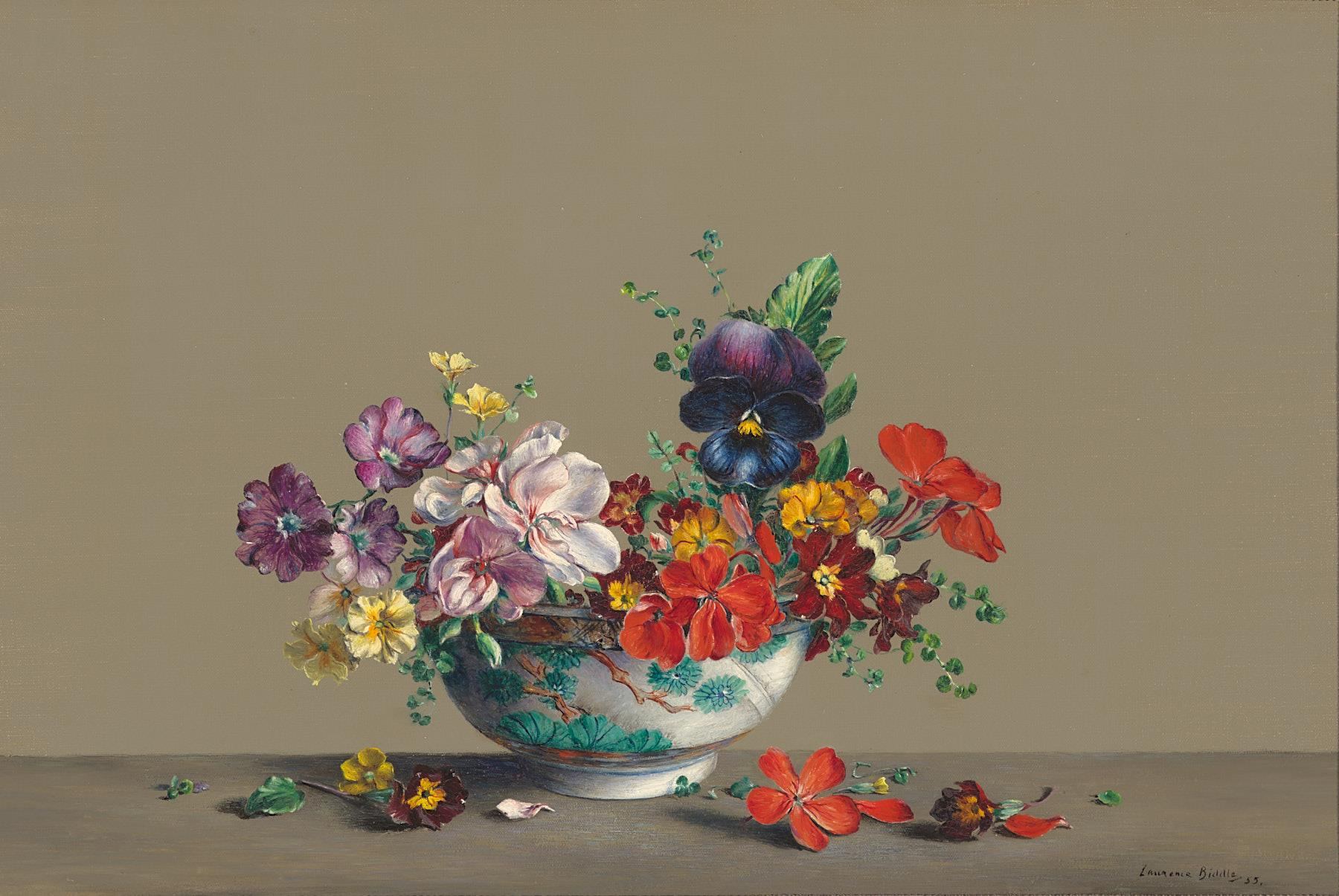 Laurence Biddle | Scarlet & Pink Geraniums, Primulas and Pansy