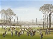 Figures in the Park with Townscape beyond, Brian Shields -  BRAAQ